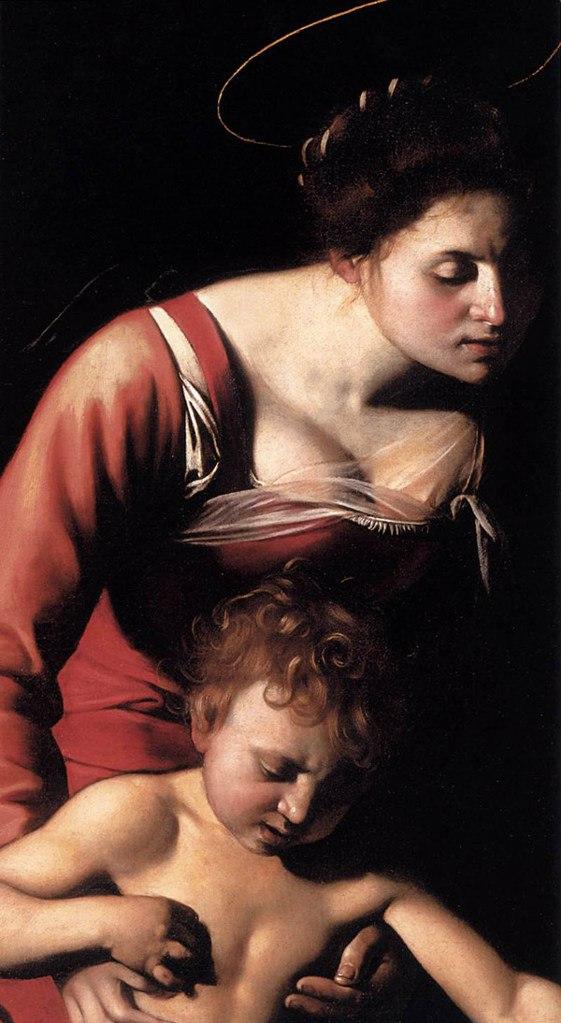 """Караваджо. """"Мадонна Палафреньери"""" (""""фрагмент). 1605-1606. В качестве модели была использована проститутка Элен, позировавшая ему при работе над """"Мадонной ди Лорето"""". Крах всех надежд и амбиций был неминуем..."""