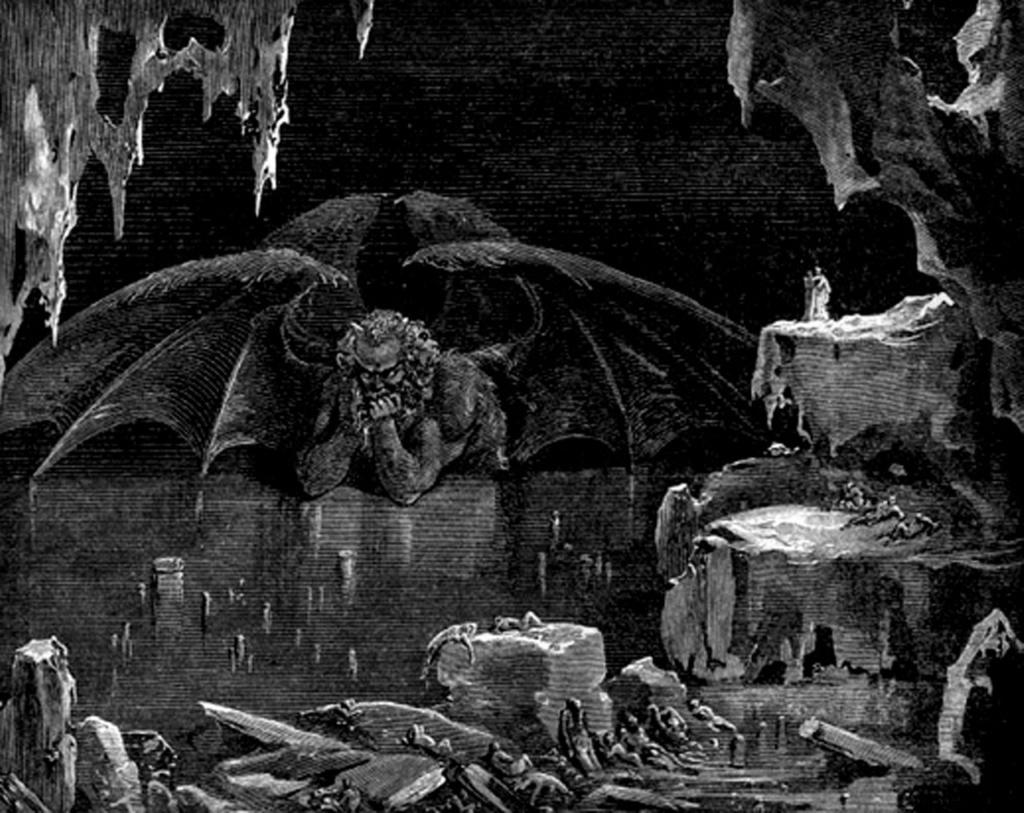 """Гравюры Г. Доре к """"Божественной комедии"""" Данте. (Inferno). 1860-е годы В завершение пребывания в Аду Данте видит ДИТА..."""