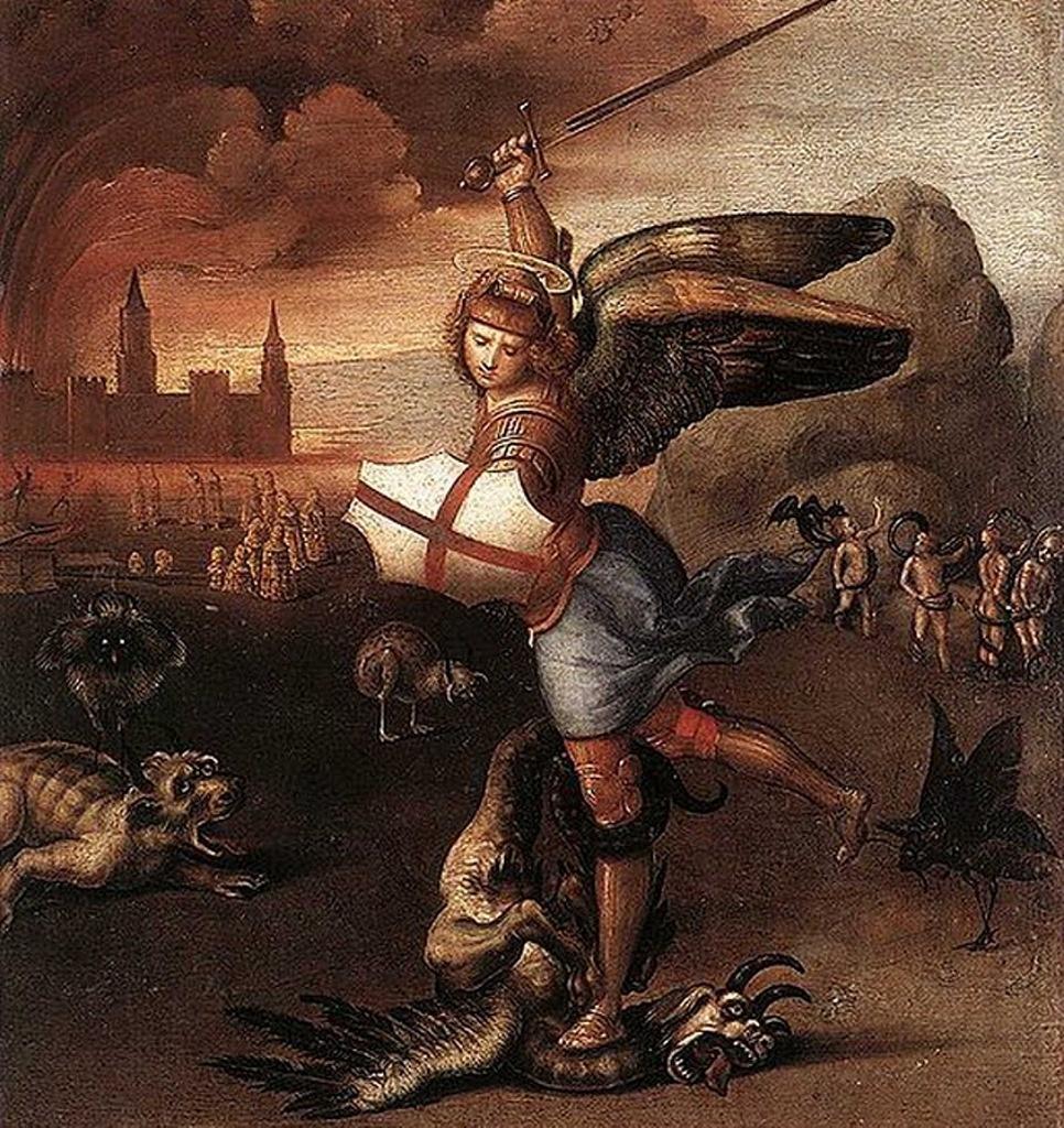 "Рафаэль Санти. ""Архангел Михаил, побеждающий дракона"". 1505"