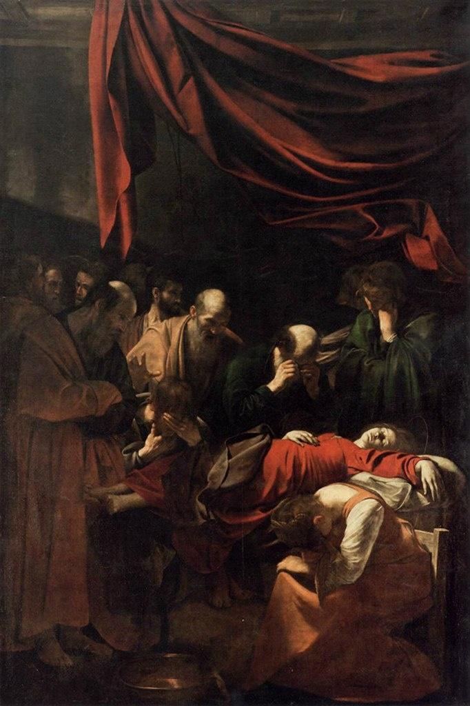 """Караваджо. """"Смерть Марии"""". 1605 - 1606. Лувр, Париж. Картина была заказана папским советником Керубини  для церкви кармелитов Санта-Мария дела Скала в Траствере. Готовое полотно было отвергнуто заказчиком..."""
