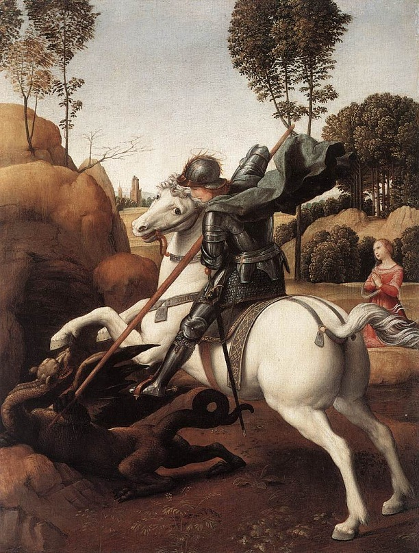 "Рафаэль Санти, ""Св. Георгий и дракон"", 1505-1506"