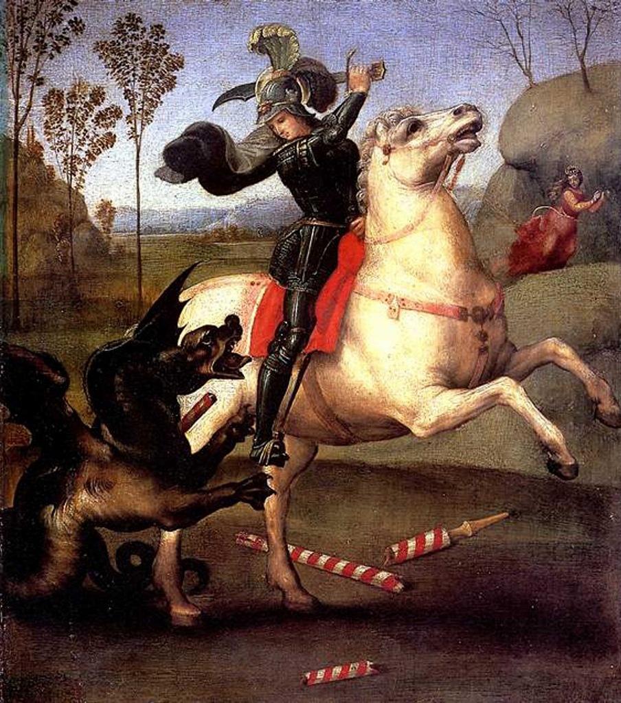 """Рафаэль Санти. """"Святой Георгий, борющийся с драконом"""". 1520"""