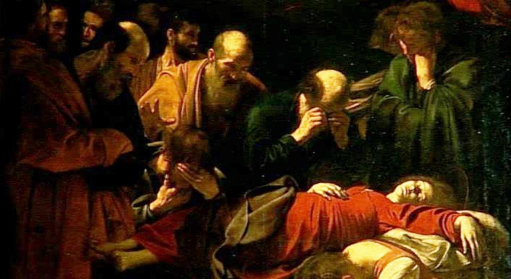 """Караваджо. """"Смерть Марии"""" (фрагмент). 1605 - 1606. Лувр, Париж. Фрагмент: апостолы, оплакивающие смерть Богоматери..."""