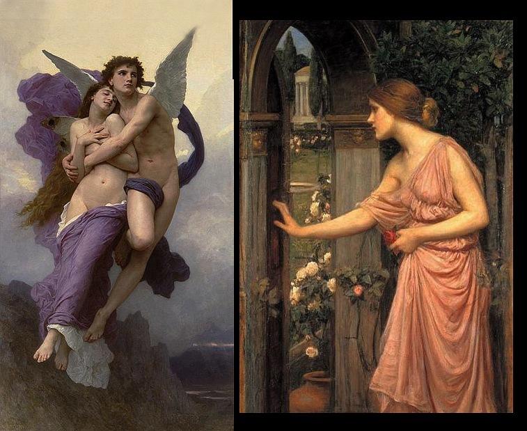 """Адольф Этьен Бугро. """"Похищение Психеи"""". 1882. Джон Уильям Уотерхауз. """"Психея, входящая в сады Амура"""". 1905."""