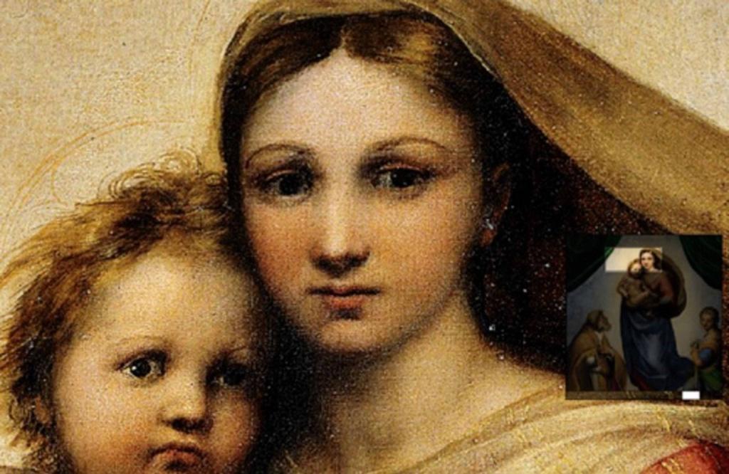 """Рафаэль. """"Сикстинская мадонна"""". 1512 - 1513. Вглядитесь, взгляд Мадонны не фиксирован и трудно уловим. Взгляд открыт в направлении зрителя, но видит она не его,  а свою судьбу, что становится понятной и смотрящим на нее."""