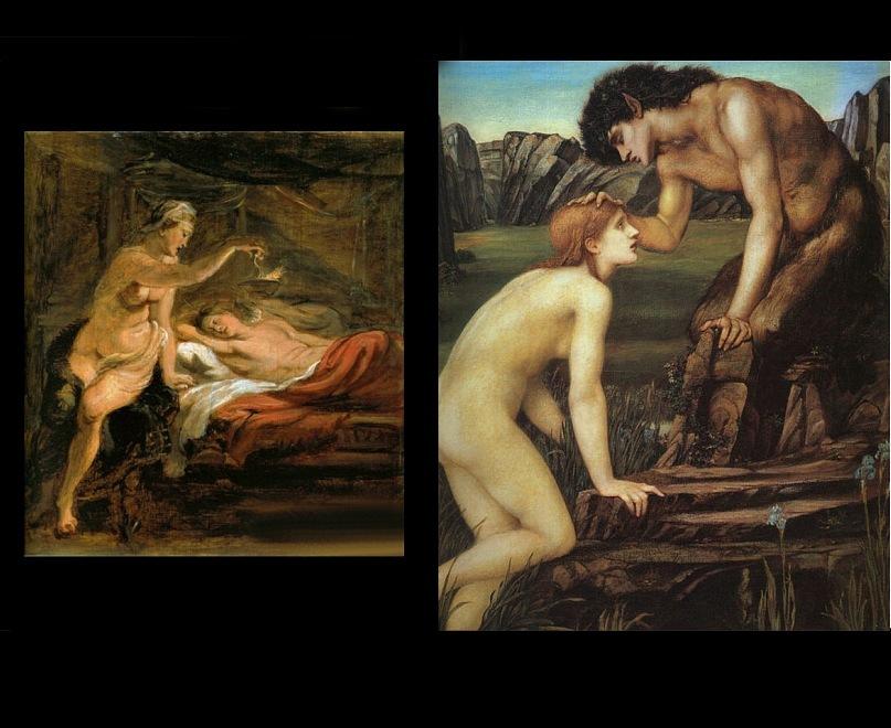 "Питер Пауль Рубенс. ""Психея и Амур"". Эдуард Бёрн-Джонс. ""Психея и пан"". 1874."