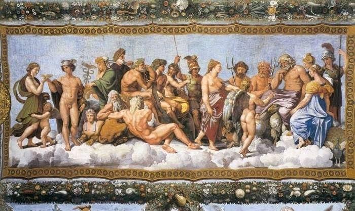 """Рафаэль Санти. """"Психею принимают на Олимпе"""". Фреска на вилле Фарнезина, в основном выполненная учениками мастера."""