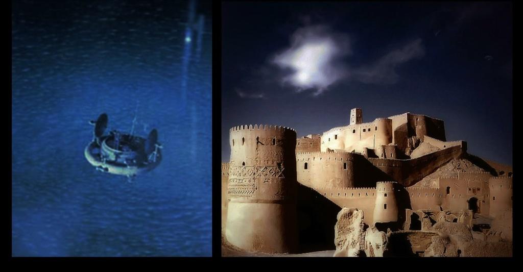 Слева - Космическая станция в безбрежности Вселенной. Справа - крепость Бастиани в безбрежности Пустыни-Пустоты.