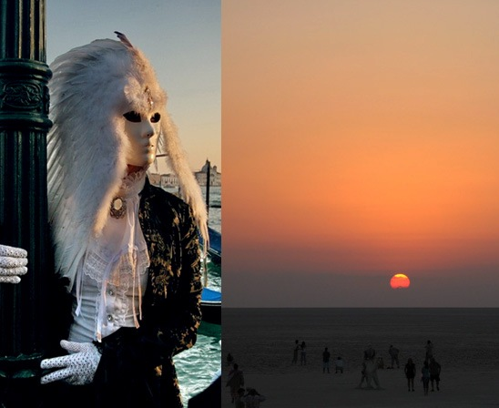 Маскарадный образ белой птицы. Взглядом убивающей? За чьей-то агонией наблюдающей? Закат Солнца на пляже острова Лидо...