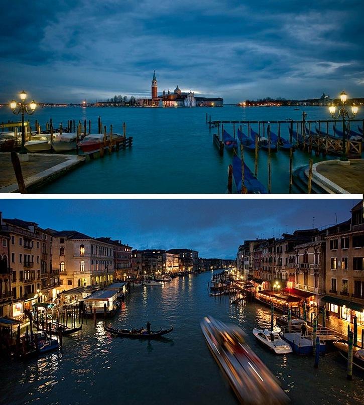 Сумеречное освещение в Венеции, возвещающее приход синей ночи...
