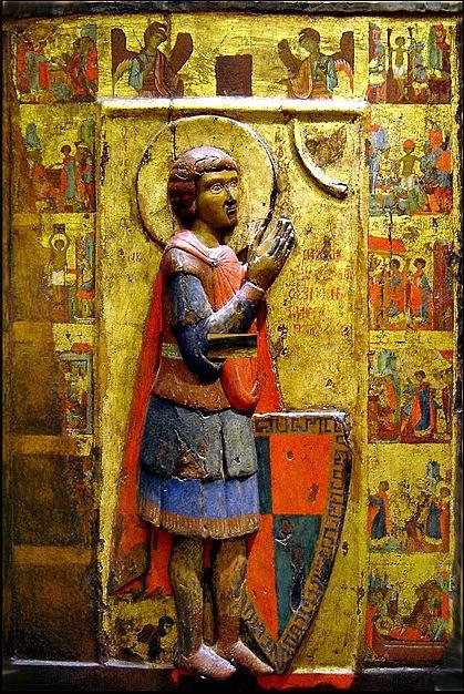 Византийская икона Св. Георгия (житийная), датируемая 13 веком.
