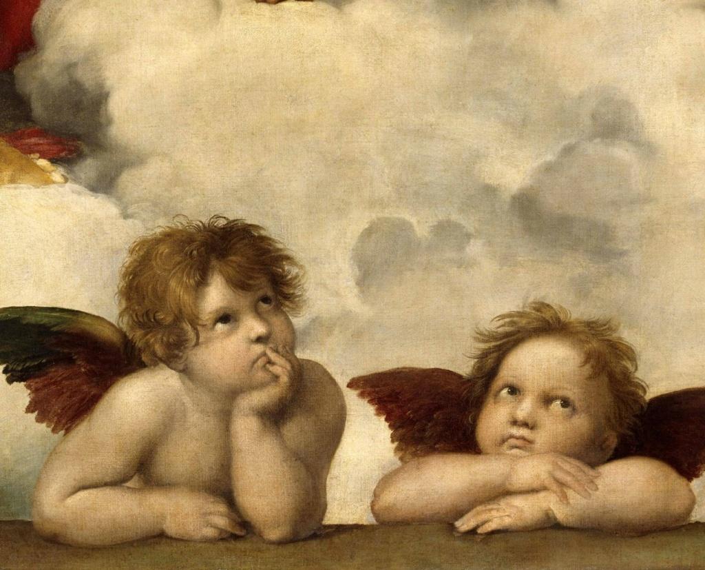 """Рафаэль. """"Сикстинская мадонна"""". 1512 - 1513. Фрагмент картины: ангелочки или путти, что не могут  отвести взгляда от происходящего там - в облаках."""