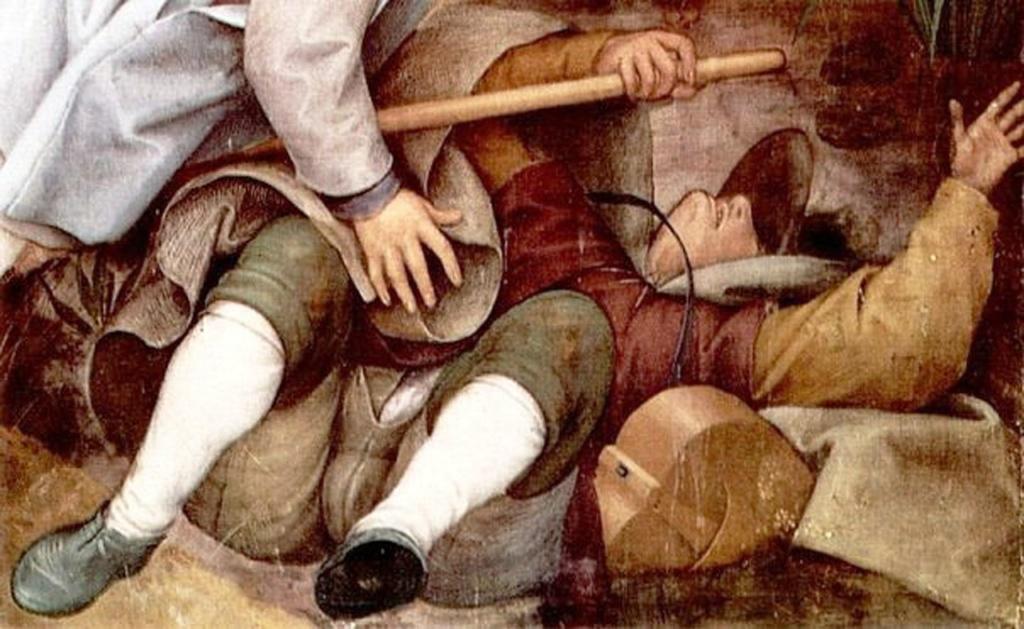 """Питер Брейгель Старший. """"Слепые"""".1568. Фрагмент картины: незрячий поводырь, упавший в яму.."""