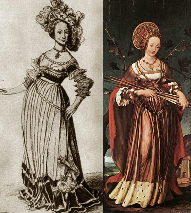 Ганс Гольбейн Младший. Молодая девушка. Гравюра на меди. Ганс Гольбейн Младший. Св. Урсула. Масляная живопись 1523 год