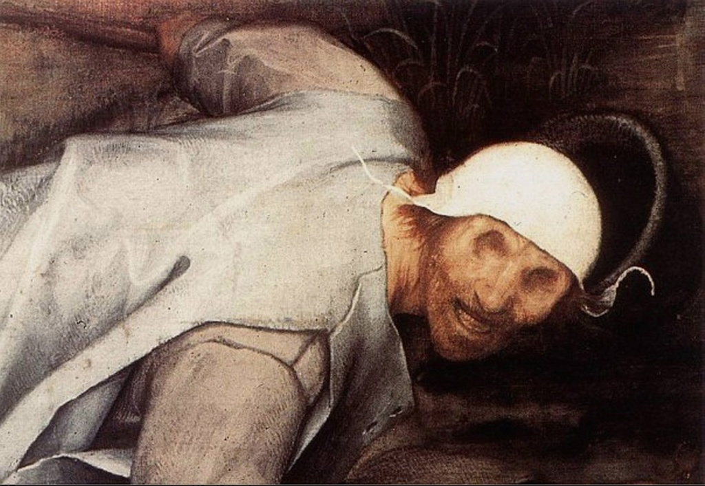 """Питер Брейгель Старший. """"Слепые"""".1568. Фрагмент картины: Слепец, первым следующий за поводырем. Его лицо уродливо и омерзительно, слышен скрежет зубов."""