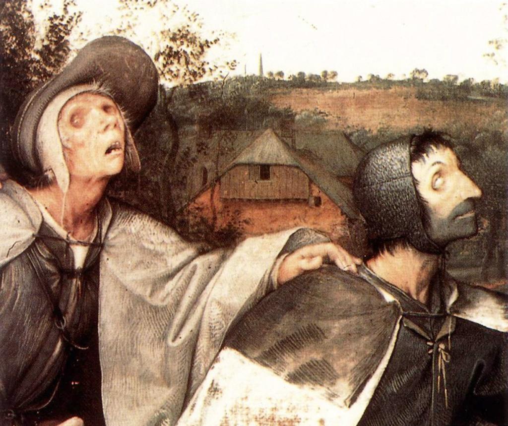 """Питер Брейгель Старший. """"Слепые"""".1568. Фрагмент картины: третий и четвертый слепцы в общем ряду."""
