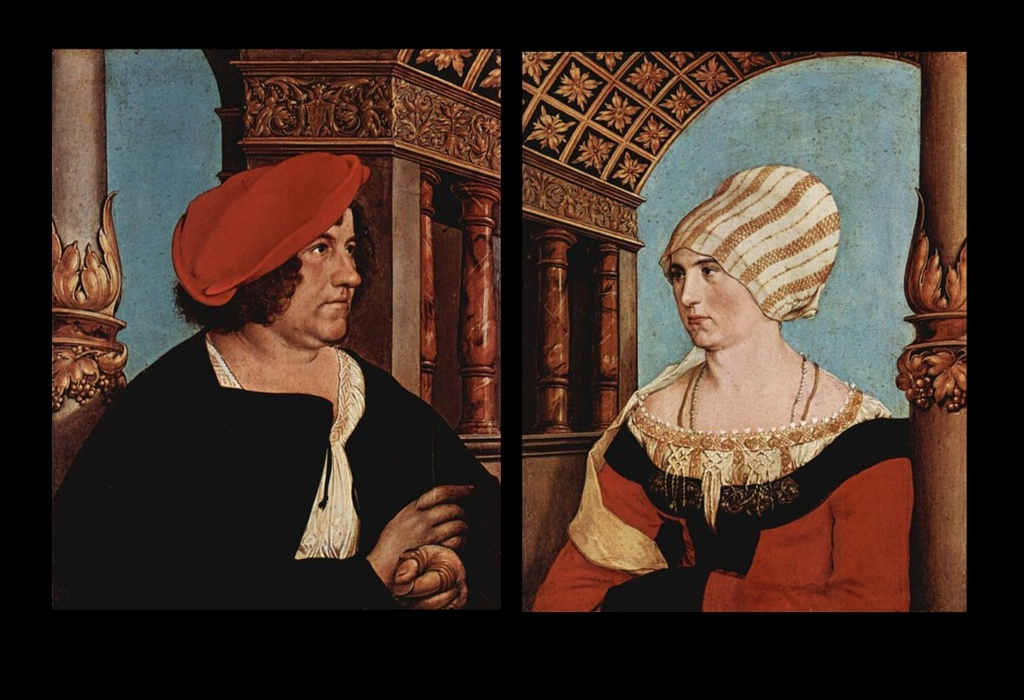 Ганс Гольбейн Младший. Диптих (двойной портрет) бургомистра Якоба Майера и его жены Доротеи Канненгисер. 1516. Базель, Музей искусств