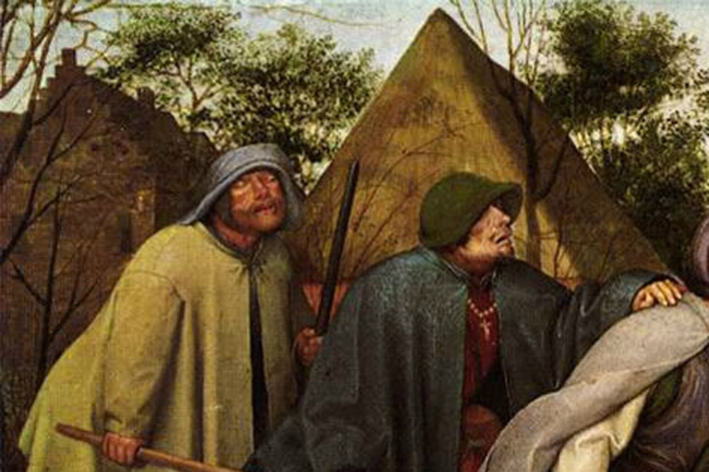 """Питер Брейгель Старший. """"Слепые"""".1568. Фрагмент картины: два последних слепца - пятый и шестой."""