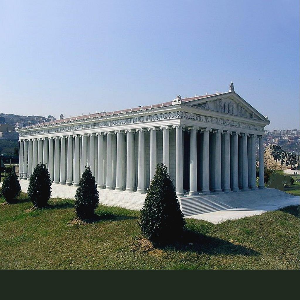 Малоазиатское побережье Эгейского моря. Храм Артемиды в Эфесе (макет). Архитекторы Херсифрон и Метаген. Строился 120 лет. Завершен примерно в 450 году до н. э.