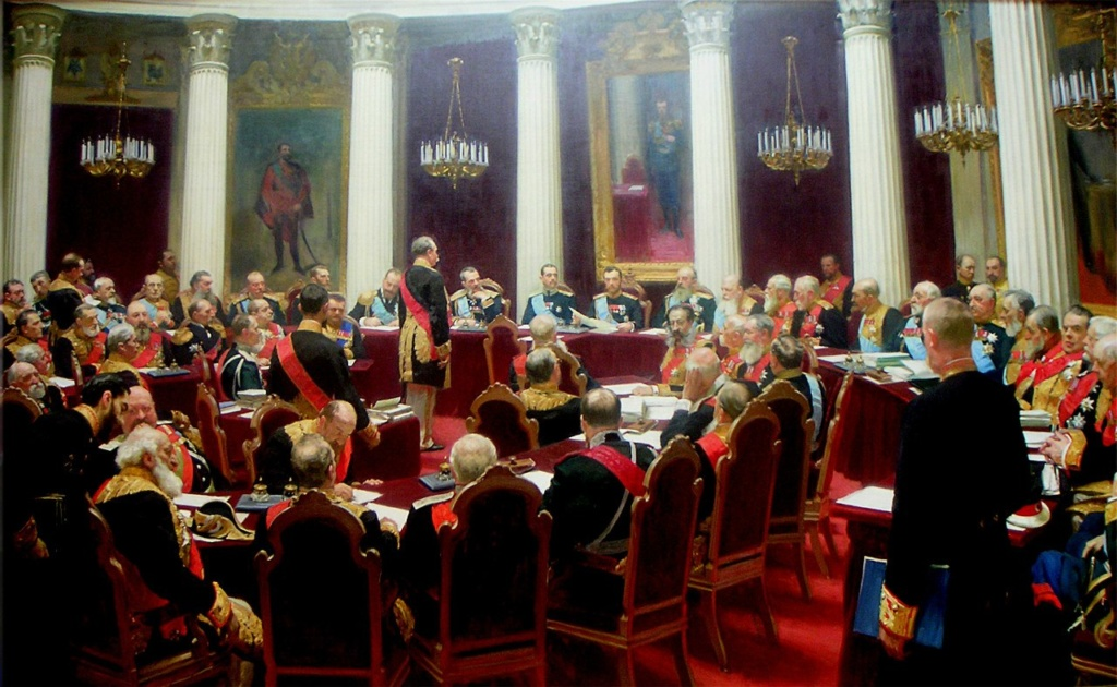 И. Е. Репин. Торжественное заседание Государственного совета 7 мая 1901 года в честь столетнего юбилея со дня его учреждения, 1903. Холст, масло. 400×877. ГРМ, Санкт-Петербург.