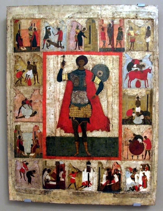 Древнерусская житийная икона Св. Георгия из музея Рублева в Москве