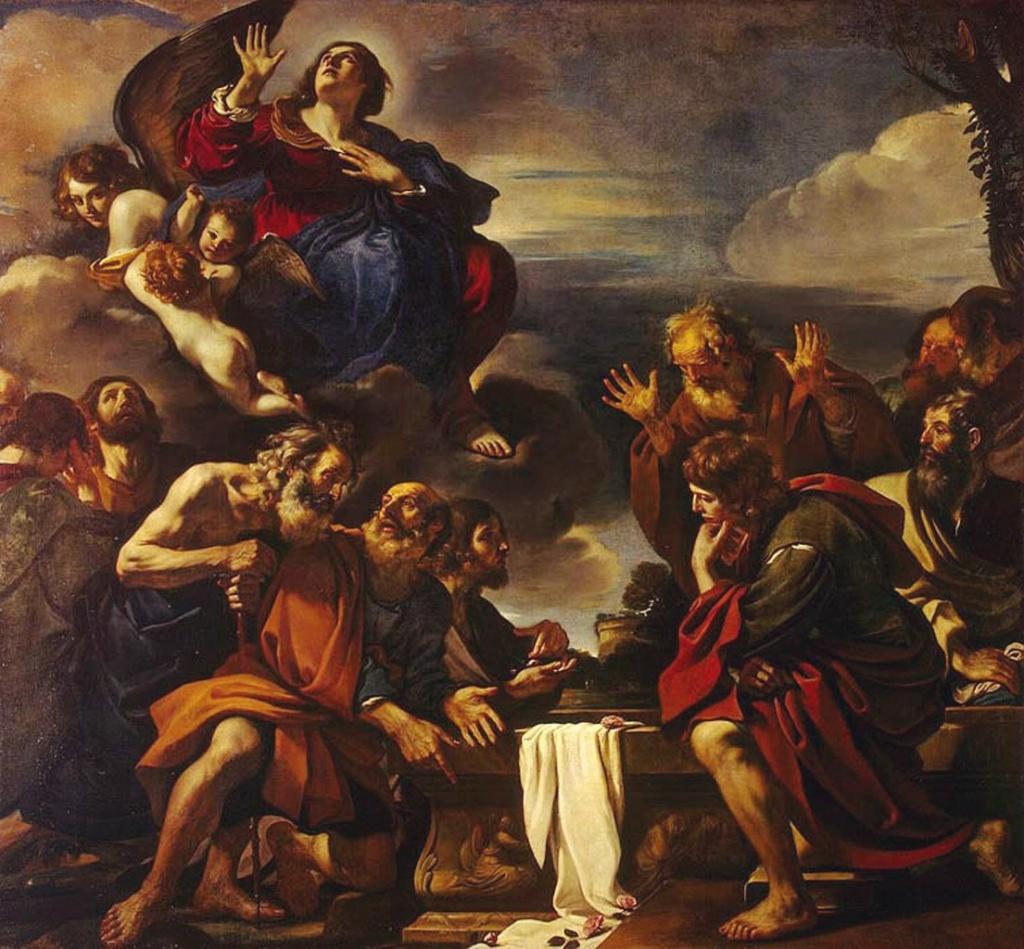 """Гверчино. """"Вознесение Марии"""" из собрания Государственного Эрмитажа. Многофигурная композиция, многословием затемняющая суть происходящего. Такой вижу работу Гверчино я."""