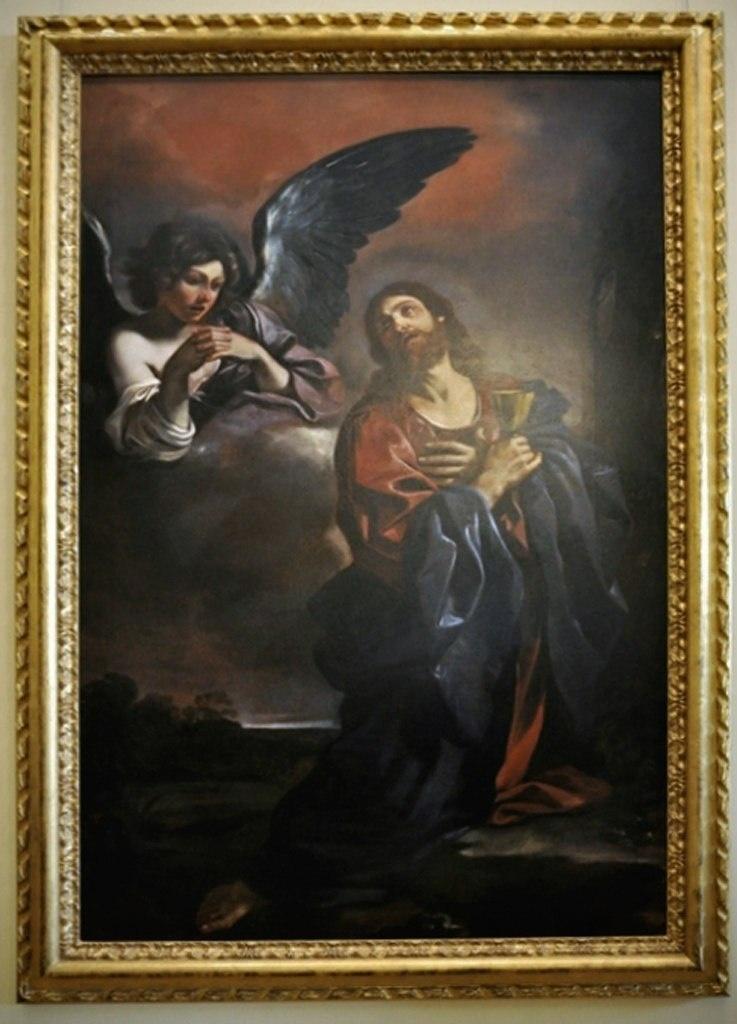 """Гверчино. """"Моление о чаше"""". То - молитва Иисуса Христа в Гефсиманском саду, описанная в Евангелиях. С точки зрения христианских богословов является выражением того, что Иисус имел две воли: Божественную и человеческую."""