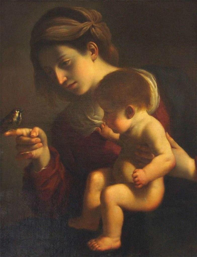 "Гверчино. ""Мадонна с Младенцем и птичкой"". Чудесно даже на репродукции. Из Вечности вырвано и остановлено мгновение."