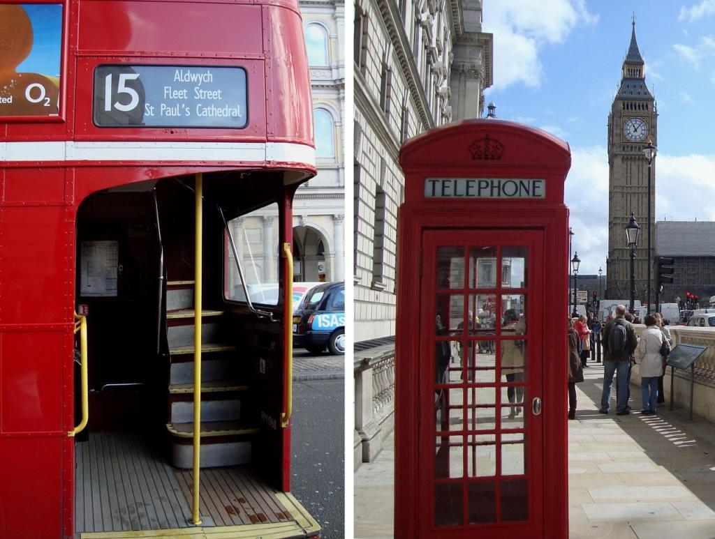 Лондон. Красные автобусы (омнибусы), красные телефонные будки