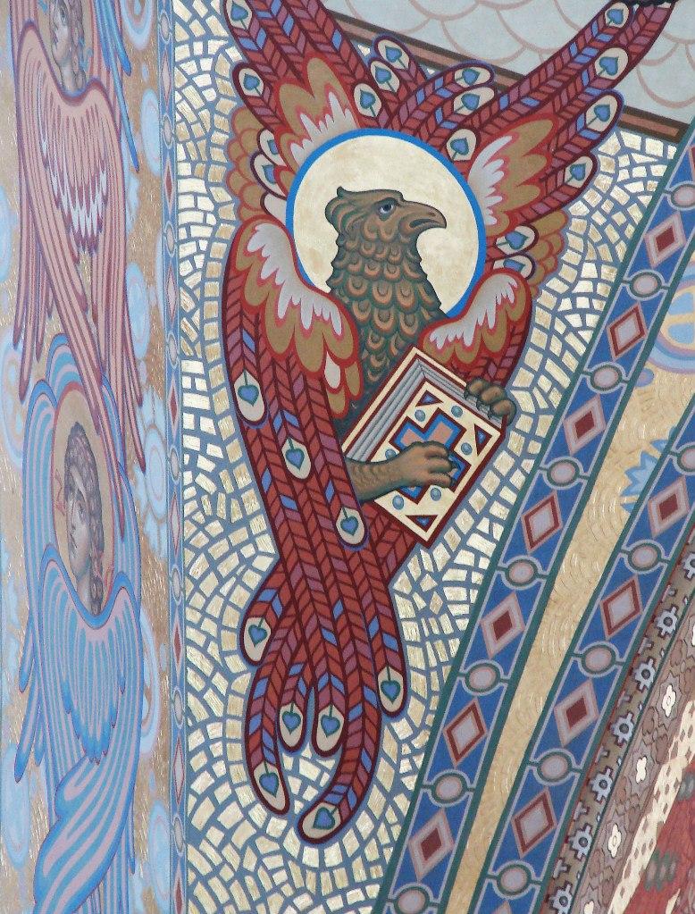 Морско́й собо́р святи́теля Никола́я Чудотво́рца — православный храм Кронштадта. 1903 - 1913. Вид на Молельный зал по центральной оси симметрии, идущей с Запада на Восток. Орел при евангелисте Иоанне на левом парусе.