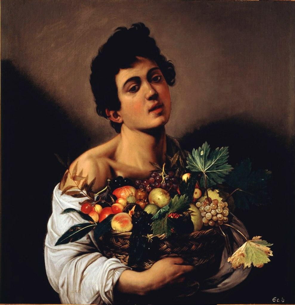 Караваджо. «Юноша с корзиной фруктов». Написана в период раннего творчества: 1593 - 1594..