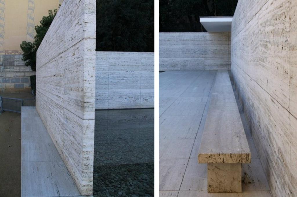 Оригинальность Мис ван дер Роэ заключается не столько  в новизне используемых материалов, сколько в идеале современности, выражаемом через строгость геометрии, точности деталей и ясности сборки.