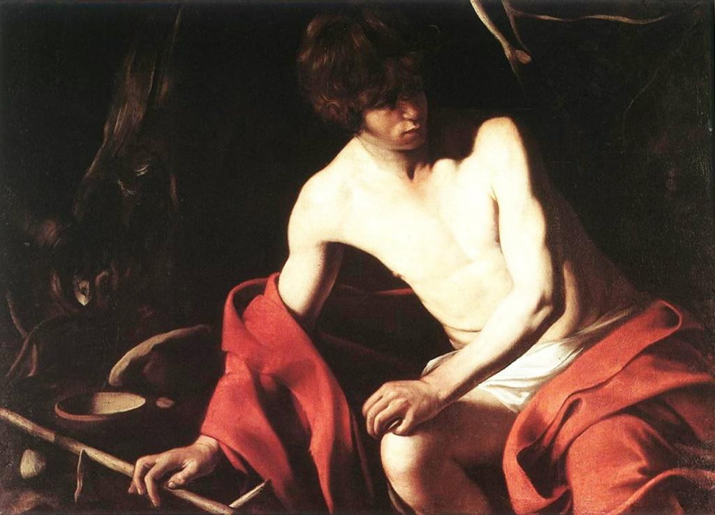 """Караваджо. """"Иоанн Креститель"""", ок. 1603-1604. Неужели этот юноша-пастух с тростниковым крестом может быть Предтечей? Неужели столь высокая миссия посильна для человека?.."""