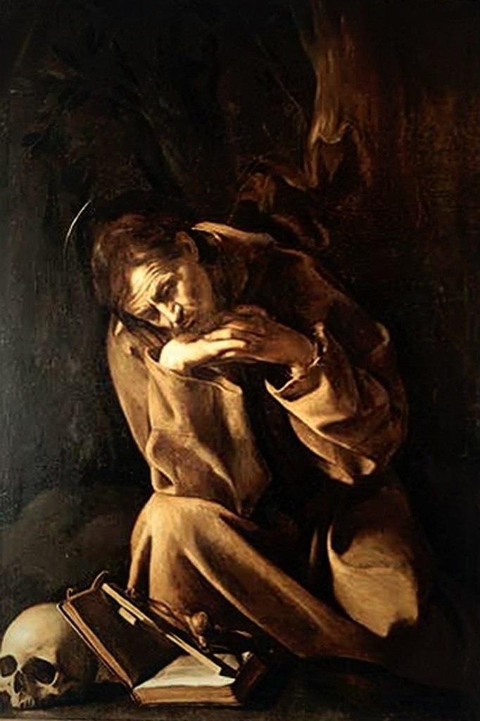 """Караваджо. """"Св. Франциск"""". 1607 - 1610. Маленький нищий человек, умевший разговаривать со зверями... Подлинник, увиденный мною первый раз, не отпускавший от себя. Уходя, я оглянулась и поняла: мы очень многого не договорили."""