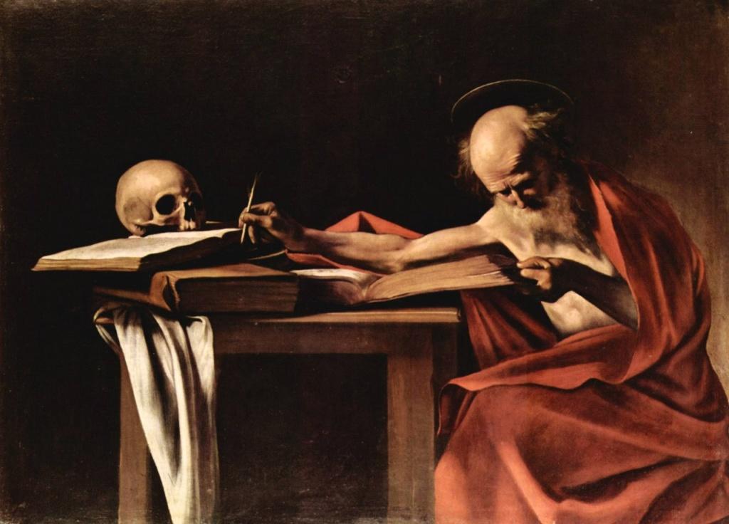 """Караваджо. """"Пишущий Святой Иероним"""". 1605 - 1607. Библия, череп, старец в дарственной кардинальской мантии - все погружено в Вечность..."""