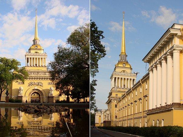 Фасад Главного Адмиралтейства со стороны нынешнего Александровского сада, который при Батюшкове еще не разросся в полную силу, так как четыре ряда лип посажены в 1806 году.