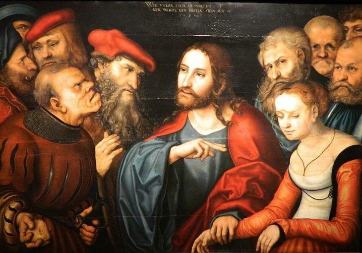 """Лукас Кранах Старший и мастерская, """"Христос и грешница"""", 1532"""