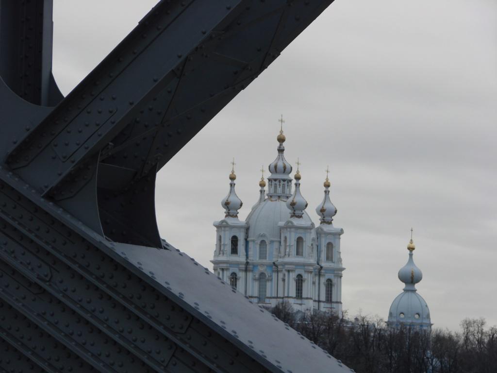 """Вид на Смольный монастырь через решетку """"Моста императора Петра Великаго""""."""