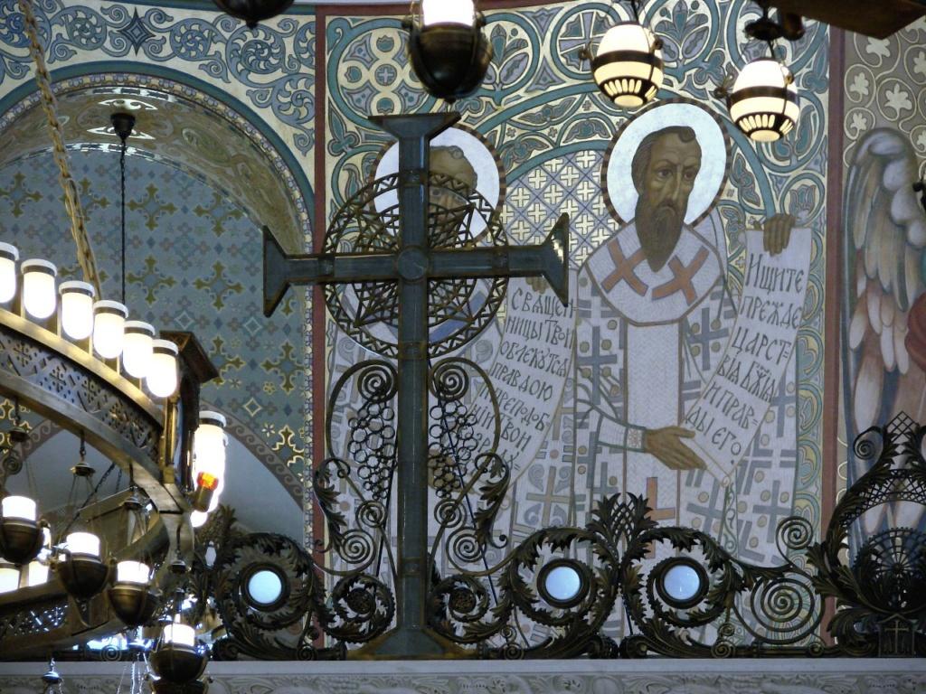 Морско́й собо́р святи́теля Никола́я Чудотво́рца — православный храм Кронштадта. 1903 - 1913. Фрагмент иконостаса и росписей над ним.